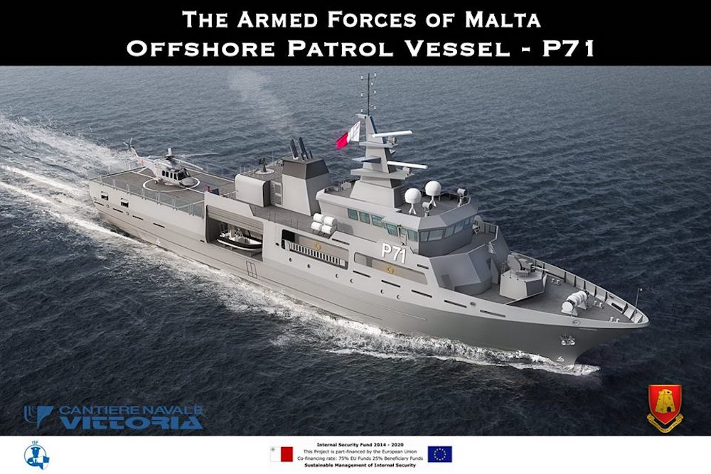 On Wednesday 16th January 2019, the Armed Forces of Malta have signed a US$40 million contract for an additional Offshore Patrol Vessel, which will be named P71. The project of asecond and more capable OPV was launched in 2015, and has since then started to take shape.