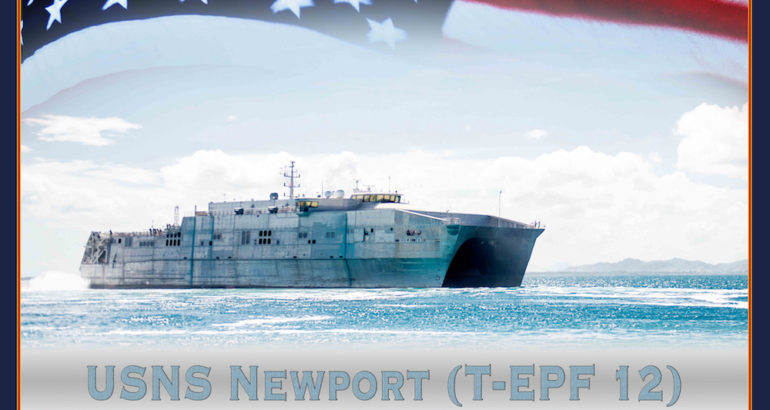 "The U.S. Navy held a keel laying and authentication ceremony for its twelfth Expeditionary Fast Transport (EPF) vessel, Newport (EPF 12), at Austal USA's shipyard., Jan. 29. The keel was said to be ""truly and fairly laid"" as it was authenticated by Charlotte Dorrance Marshall, signing her initials into the keel plate."