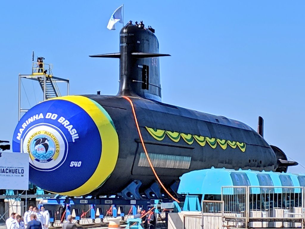Launch of Riachuelo, Brazil's first Scorpene-class attack submarine