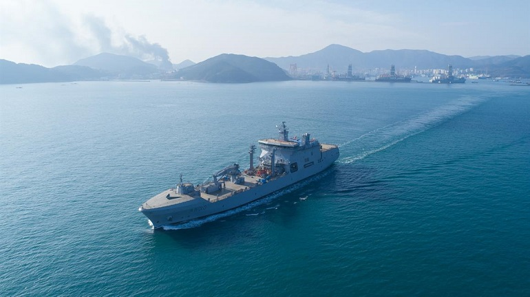 DSME-built logistics support vessel HNoMS Maud on maiden trip to Norway 2