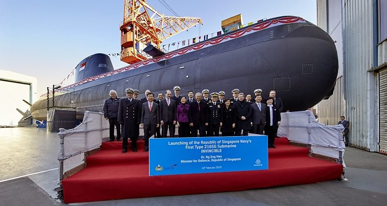 Republic of Singapore Navy launches first Type 218SG Invincible-class submarine 1