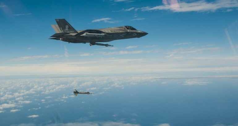 US Marine Corps F-35B Lightning II aircraft conducted milestone flight operations with externally-loaded inert and live ordnance in expeditionary strike training from the USS Wasp (LHD 1) in the Philippine and East China Seas, Jan. 26 through Feb. 6, the 31st Marine Expeditionary Unit PAO announced recently.