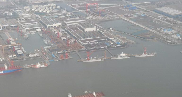 15 Destroyers & 1 Aircraft Carrier Under Construction at China's Jiangnan Shipyard 1