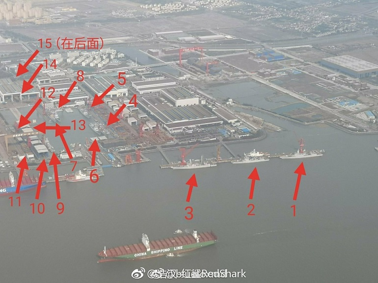 15 Destroyers & 1 Aircraft Carrier Under Construction at China's Jiangnan Shipyard 2