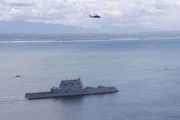 USS Zumwalt heads out for its first operational underway