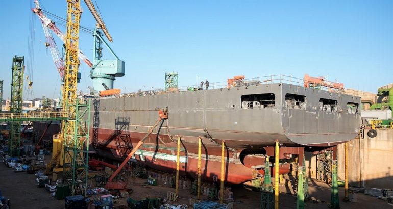 Construction of New Zealand's Future Support Vessel Progressing Well at HHI Shipyard 1