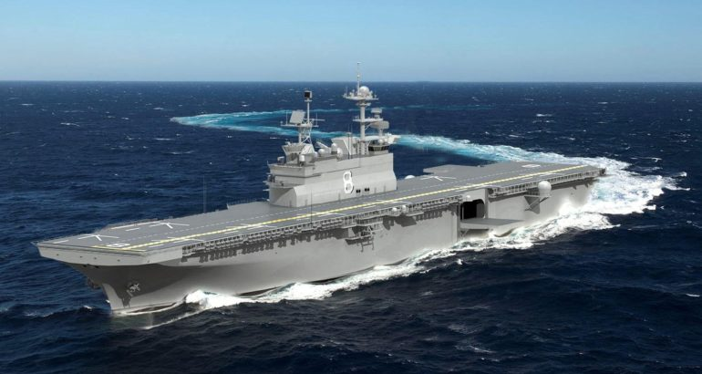 HII Authenticates Keel of America-class Amphibious Warship Bougainville (LHA 8)