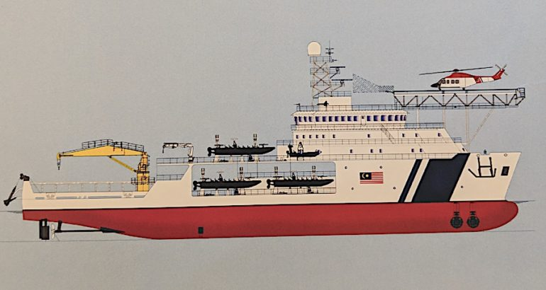 The Malaysian shipyard Muhibbah Engineering introduced a multirole variant of its commercial Offshore Support Vessel design at the LIMA 2019 exhibition. As the name implies, the Multi-Purpose Mission Ship (MPMS) is designed to perform a wide range of tasks. Its utmost important role is to act as a mothership for smaller vessels and day/night operations.
