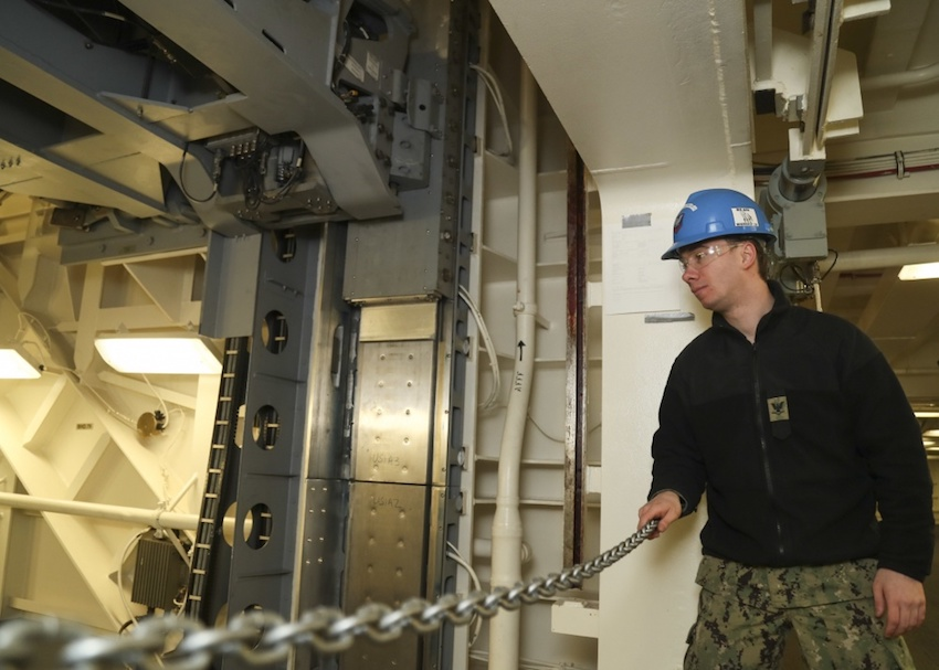 Nearly one month following the acceptance of its first advanced weapons elevator (AWE), the US Navy's newest aircraft carrier, USS Gerald R. Ford (CVN 78), has accepted its second, the service said on March 6.
