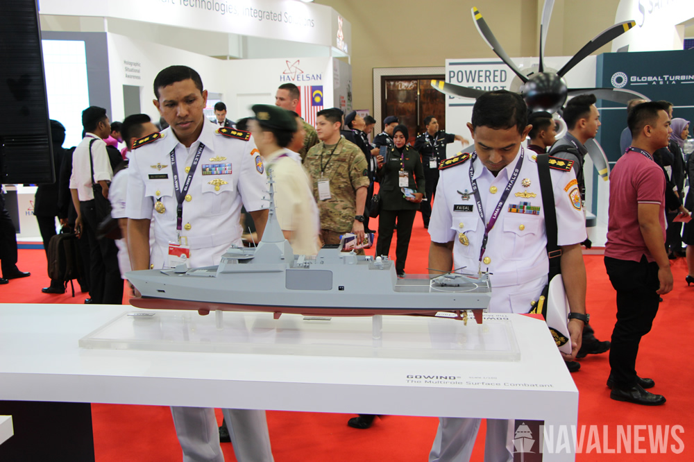 Gowind corvette scale model on Naval Group stand at LIMA 2019
