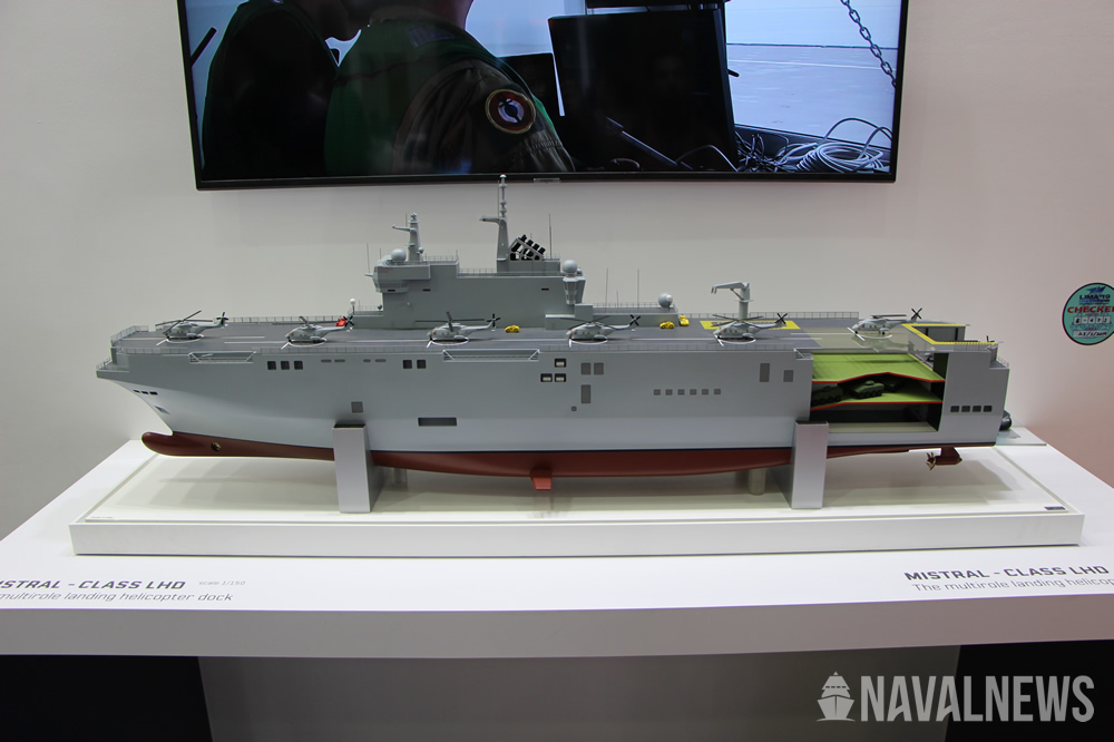 Gowind LHD scale model on Naval Group stand at LIMA 2019