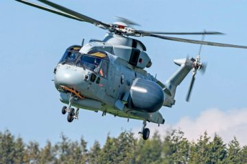 First Flight for Royal Navy's Merlin Crowsnest AEW Helicopter