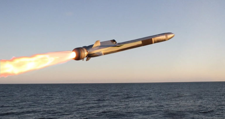 NSM anti-ship missile during its launch phase.