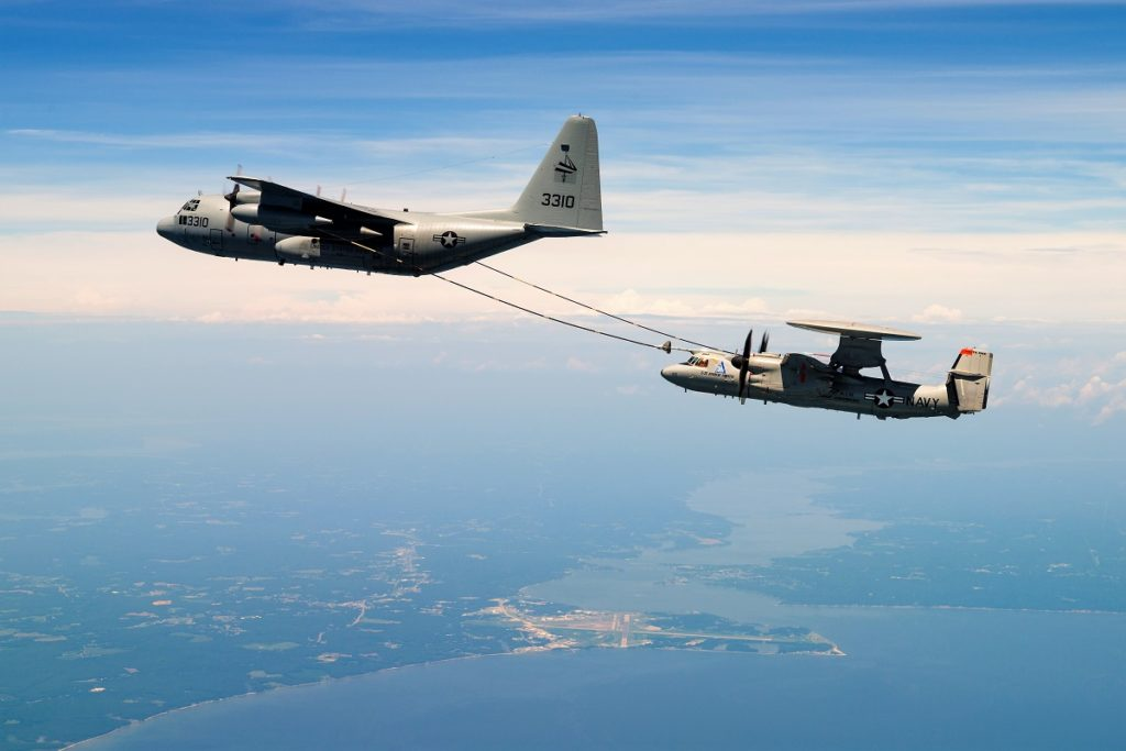 U.S. Navy E-2D Advanced Hawkeye, Bureau # 166501, of Air Test and Evaluation Squadron Two Zero (VX-20) conducts aerial refueling engagements with a KC-130 for the very first time over the Chesapeake Bay on 14 July 2017. VX-20 is part of Naval Test Wing At