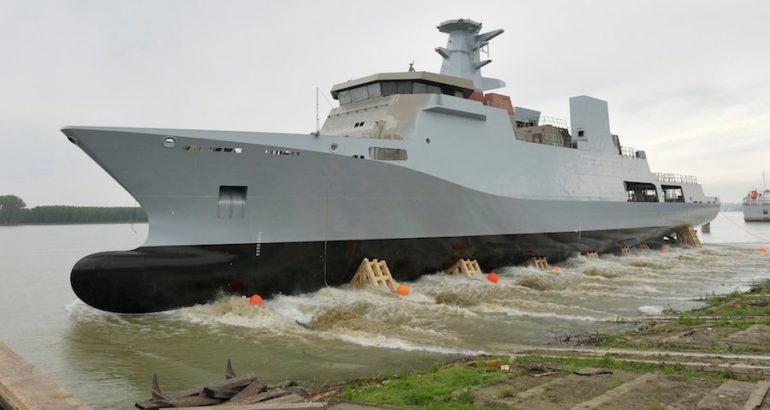 The Dutch shipbuilder Damen officially launched the first of two corvettes ordered by the Pakistan Navy, on May 17 at the Galati facilities, Romania. The ceremony was attended by the PN Chief of Staff Vice Admiral Abdul Aleem.