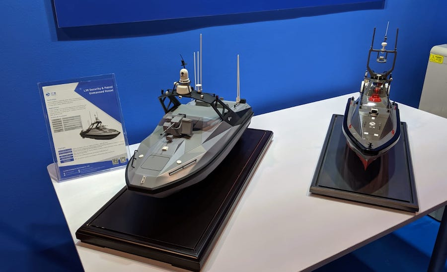 China's Yunzhou Intelligence Technology Co., Ltd., is pitching two members of its family of Unmanned Surface Vessels at the IMDEX Asia 2019 maritime exhibition.