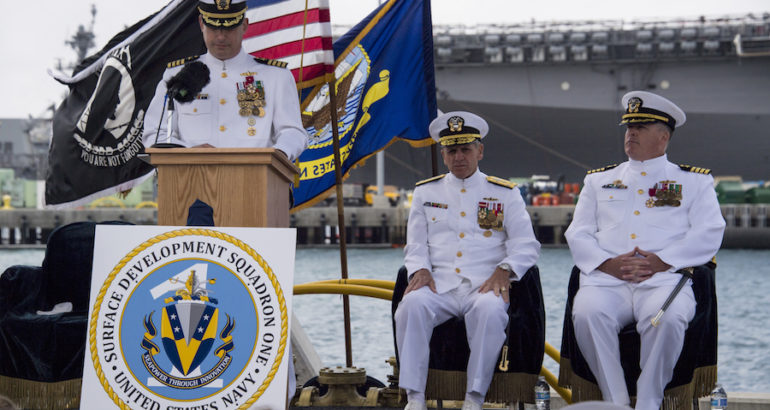 To encourage innovation, experimentation, and combat readiness, Vice Adm. Richard Brown, Commander, Naval Surface Force, U.S. Pacific Fleet (CNSP), announced the establishment of Surface Development Squadron ONE (SURFDEVRON ONE) during a ceremony, May 22.