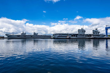 HMS Queen Elizabeth leaves dry dock after first maintenance period