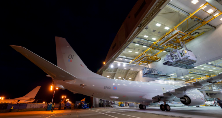 According to pictures released on Boeing UK & Ireland Twitter account, the first Poseidon MRA Mk.1 (P-8A) Maritime Patrol Aircraft being built for the RAF is now painted and undergoing pre-flight preparations for its maiden flight.