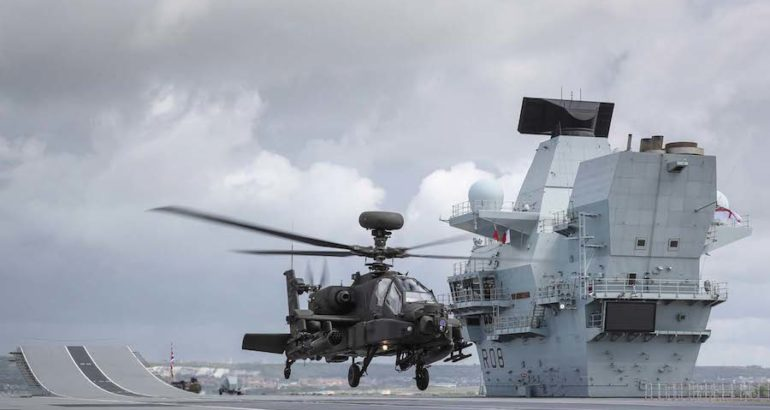 The British Army Apache AH1 has debuted aboard Britain's biggest warship as the gunship undergoes three days of trials with HMS Queen Elizabeth aircraft carrier, the Royal Navy announced on June 4, 2019.