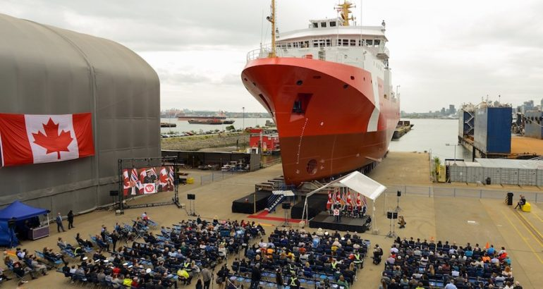 Seaspan Shipyards yesterday launched of the Canadian Coast Guard (CCG) second Offshore Fisheries Science Vessel (OFSV) built under the country's National Shipbuilding Strategy.