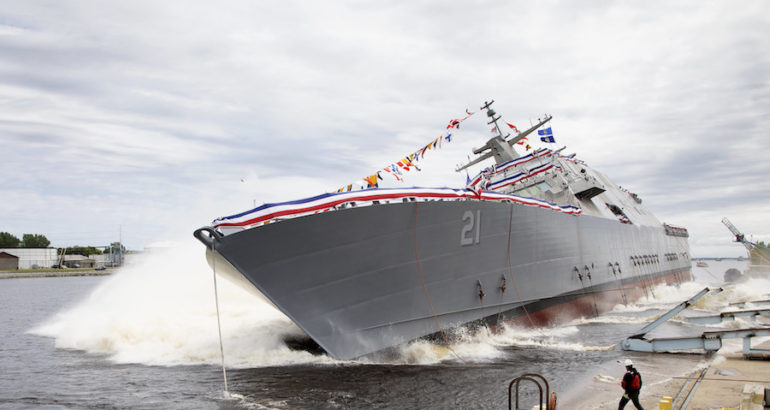 The Lockheed Martin-led shipbuilding team launched Littoral Combat Ship (LCS) 21, the future USS Minneapolis-Saint Paul into the Menominee River at the Fincantieri Marinette Marine Shipyard. Ship sponsor Jodi J. Greene, Deputy Under Secretary of the U.S. Navy for Policy, christened LCS 21 just prior to launch.