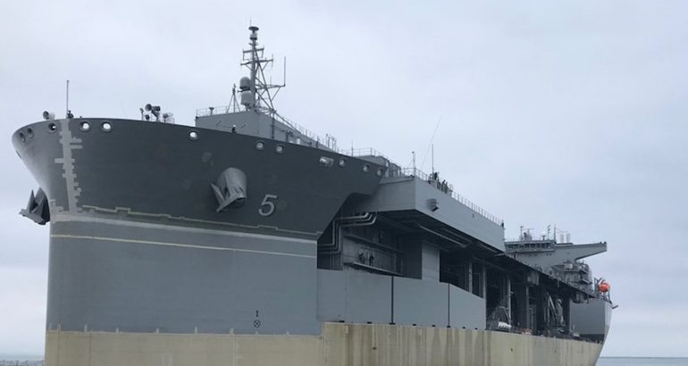 The future USNS Miguel Keith (ESB 5) expeditionary mobile base got underway from General Dynamics National Steel and Shipbuilding Company (NASSCO) for the first time since the graving dock flooding incident on July 11, 2018, the US Naval Sea Systems Command (NAVSEA) stated on its Facebook page.