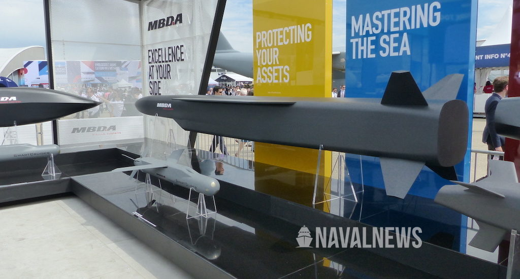 Model of a large supersonic cruise missile displayed at paris air show