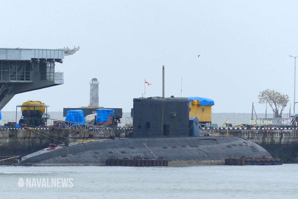 a kilo class submarine of the indian navy at mumbai naval base