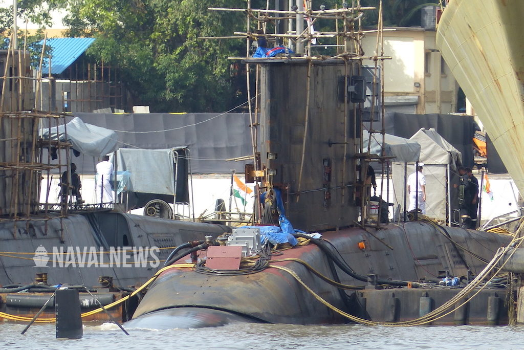 submarine of type 209 of indian navy during maintenance in mumbai naval base