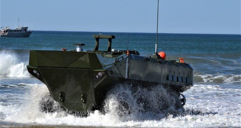 Amphibious Combat Vehicle exiting the surf