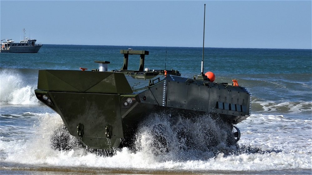 Amphibious Combat Vehicle exiting the surf