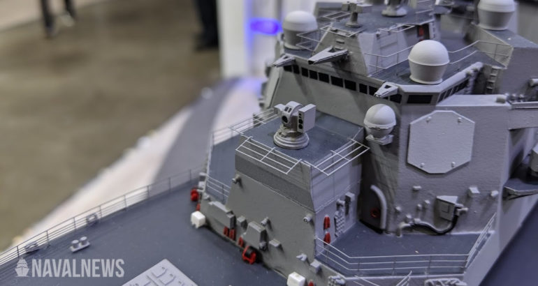 Scale model of USS Preble fitted with HELIOS