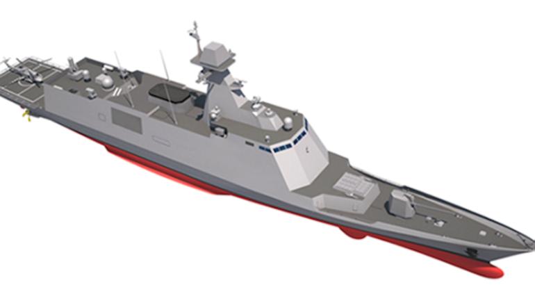 A CGI showing the conceptual design of the RoKN's future Ulsan-class FFX Batch III frigate (Credit : DAPA)