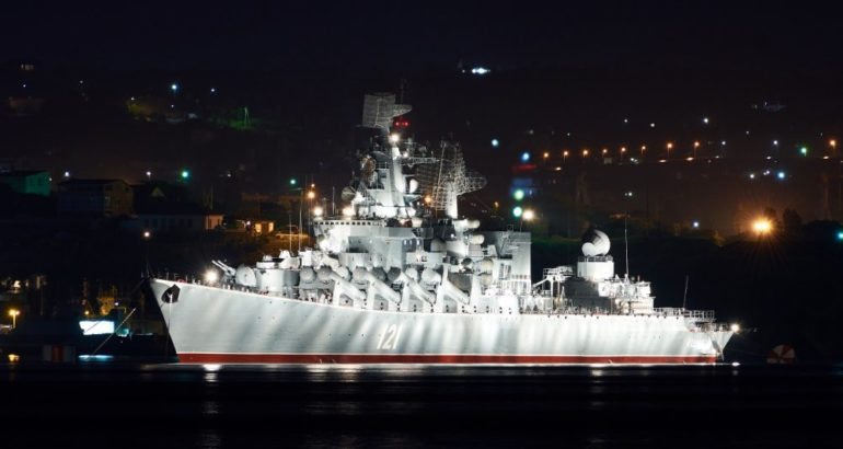 The flagship of the Black Sea Fleet of the Russian Navy, the guards missile cruiser Moskva