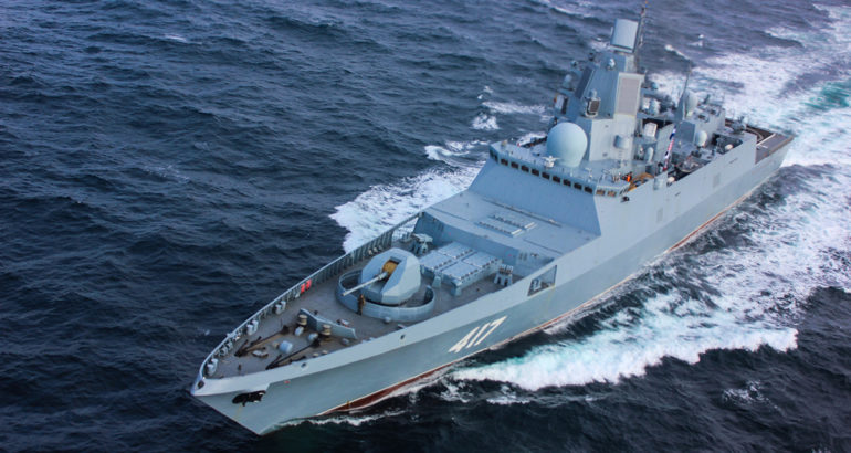 Russian frigate Admiral Gorshkov underway. Russian MOD picture.