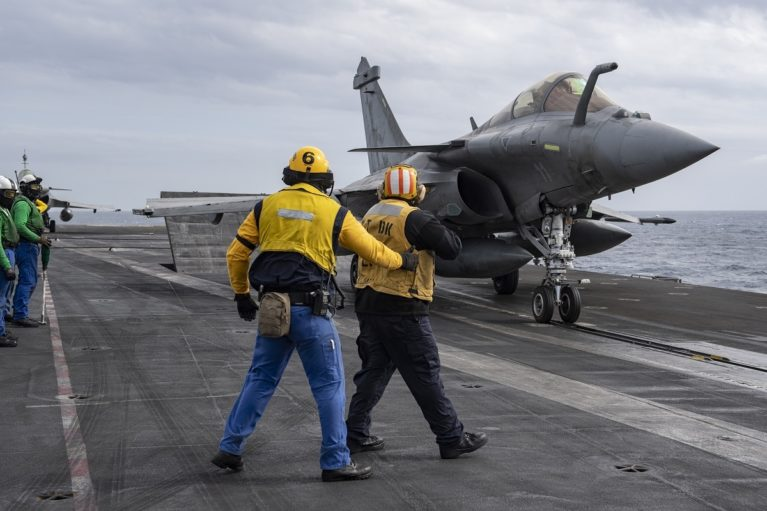 French Navy Rafale M fighters on the flight deck of USS Eisenhower