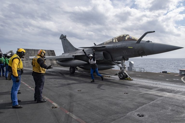 French Navy Rafale M fighter preparing to launch from USS Eisenhower.