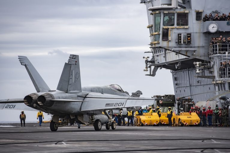 U.S. Navy F/A-18E Super Hornet aboard French aircraft carrier Charles de Gaulle.