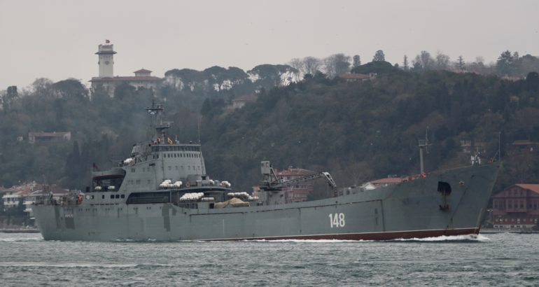 Orsk (148), a Project 1171 Alligator Class landing ship, transited southbound towards Tartus on March 22.