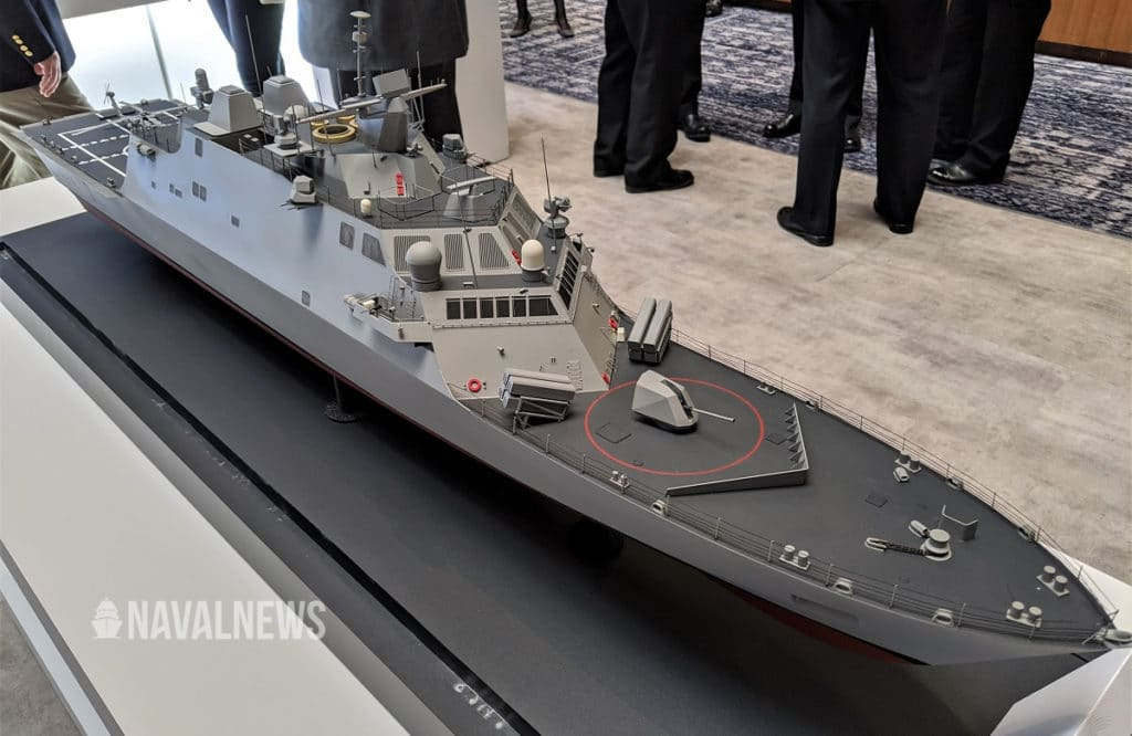 "Freedom-class LCS ""Lethality and Survivability Upgrade"". This scale model was showcased by Lockheed Martin at SNA 2020."
