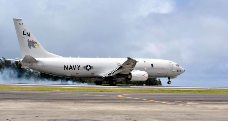 "U.S. Navy P-8A Poseidon maritime patrol aircraft (MPA) from Patrol Squadron (VP) 45 ""the Pelicans"""