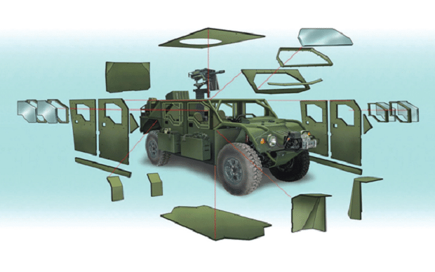 Add-on armor kit for USSOCOM M1288 GMV 1.1 showing the ballistic plates and armored windows