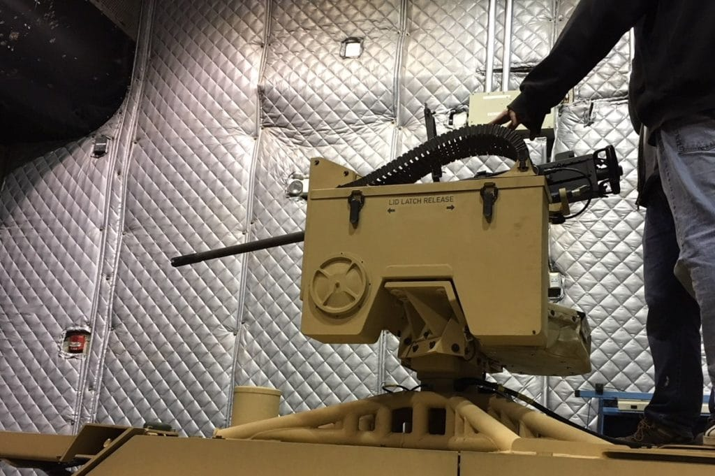 Kongsberg's M153 PROTECTOR CROWS II with 12.7mm M2 mounted on the M1288 GMV 1.1's roof.