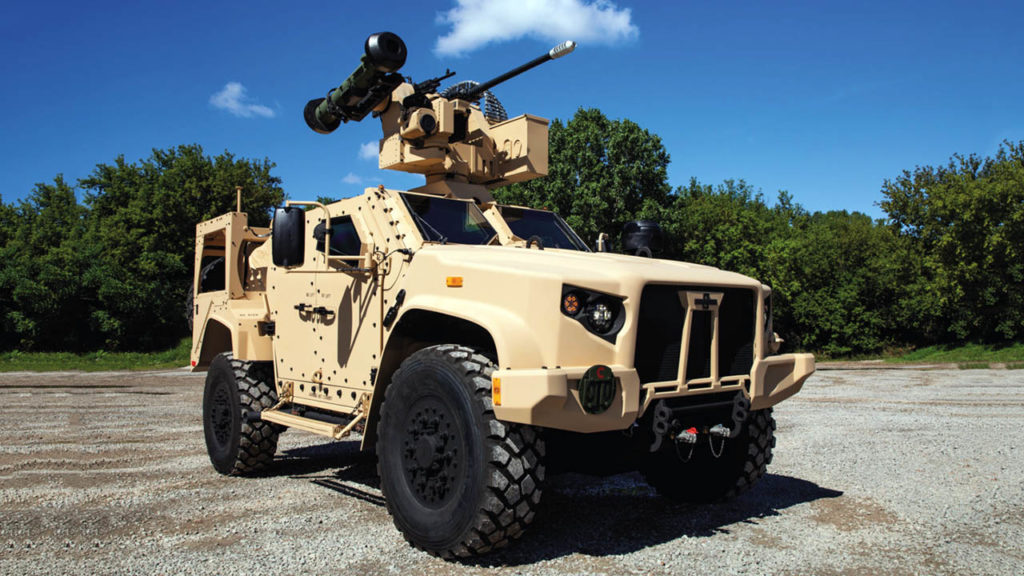 CROWS-J(avelin) RWS with weapons (left to right) Javelin ATGM, 7.62mm M240 medium machine gun, and 30mm cannon attached to a U.S. Army Joint Light Tactical Vehicle (JLTV)