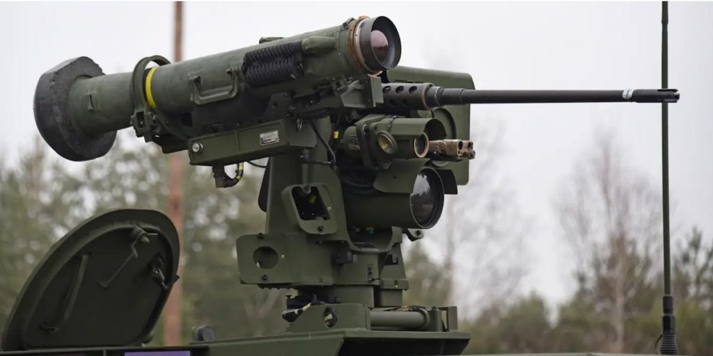 Upgraded CROWS-J RWS with a Javelin ATGM coaxial to 12.7mm M2 heavy machine gun on a Stryker AFV.