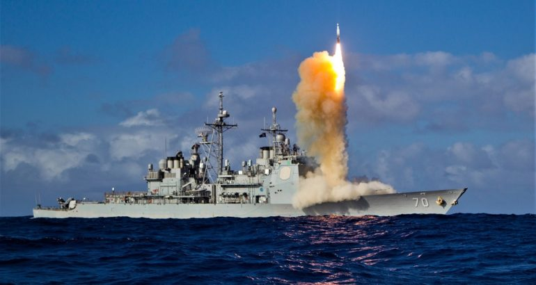 USS Lake Erie launching a surface to air missile. US Navy picture