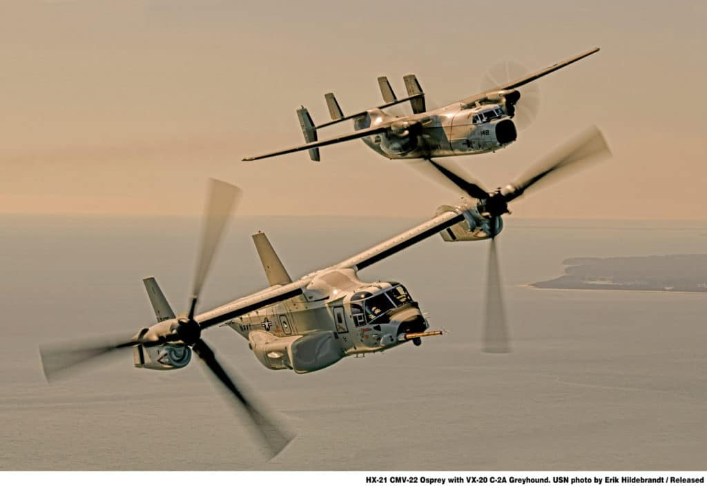 CMV-22B Osprey flying alongside a C-2A Greyhound