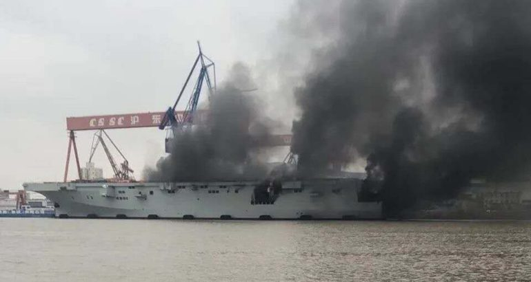 China's 1st Type 075 LHD Caught on Fire during Fitting Out