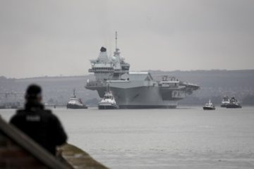 Aircraft carrier HMS Queen Elizabeth sails for operational training